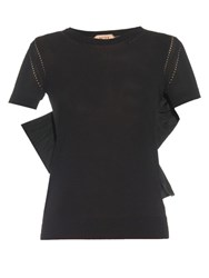 N 21 Short Sleeved Bow Detail Knit Top Black