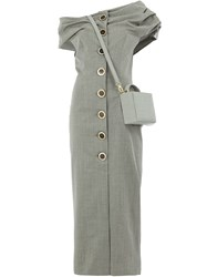 Natasha Zinko Fitted Square Bag Dress Grey