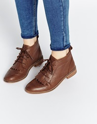 Asos Abery Brogue Lace Up Leather Ankle Boots Tan