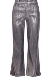J Brand Selena Cropped Coated High Rise Straight Leg Jeans Silver
