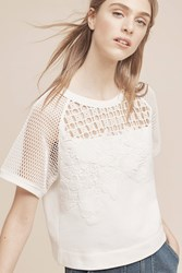 Anthropologie Adelyn Short Sleeve Sweatshirt White