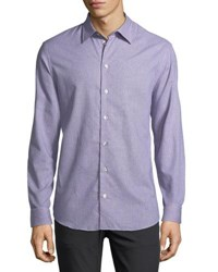 Armani Collezioni Neat Mini Gingham Cotton Shirt Blue