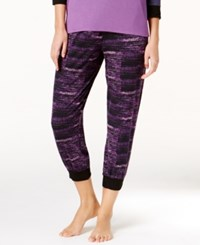 Dkny Resort Cropped Jogger Lounge Pants Black Purple Print