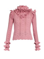 Gucci Ruffle Trimmed Pointelle Knit Wool Sweater Light Pink