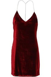 Amiri Woman Open Back Chain Embellished Stretch Velvet Mini Dress Claret