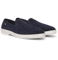 Rivieras Perforated Suede Espadrilles Navy