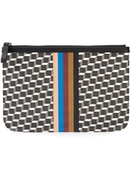 Pierre Hardy Geometric Print Pouch Unisex Calf Leather Canvas One Size Black