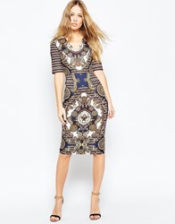 Asos Wiggle Dress With Placement Paisley Print