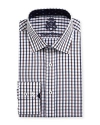 English Laundry Windowpane Check Cotton Dress Shirt Brown