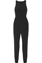 Tibi Open Back Silk Crepe De Chine Jumpsuit Black