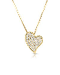 Roberto Coin Slanted Heart Diamond Pendant Necklace In 18K Yellow Gold