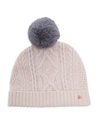 Ted Baker Kyliee Cable Knit Pom Pom Beanie Nude Pink