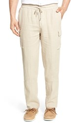 Toscano Men's Drawstring Linen Cargo Pants