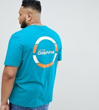Majestic Longline Miami Dolphins T Shirt With Back Print In Teal Green