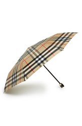 Burberry 'Trafalgar' Check Folding Umbrella Brown Camel