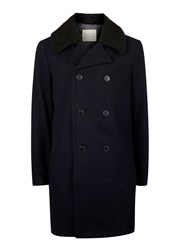 Topman Blue Selected Homme Navy Classic Faux Shearling Collar Peacoat