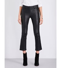 Paige Denim Carine Cropped Leather Jeans Black