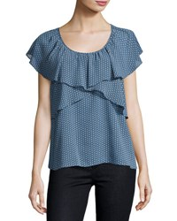Max Studio Dot Print Ruffled Georgette Blouse Blue White