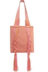 Sophie Anderson Joss Fringed Woven Tote Pink