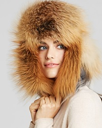 Maximilian Fox Fur Trimmed Hat Red Fox Grey