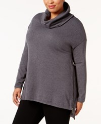 Belldini Plus Size High Low Cowl Neck Sweater Heather Charcoal