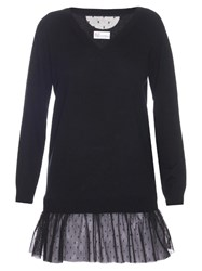 Red Valentino Contrast Hem Cashmere And Silk Blend Sweater