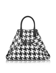 Akris Ai Medium Black And White Pied De Poule Printed Leather Tote Bag Black White