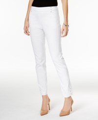 Jm Collection Embellished Pull On Ankle Pants Only At Macy's Bright White