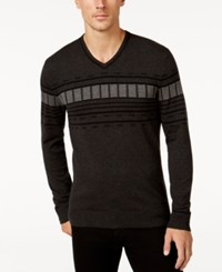Alfani Men's V Neck Geometric Striped Sweater Regular Fit Black Ice Heather