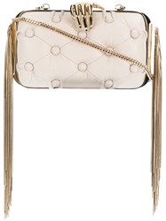 Benedetta Bruzziches Carmen With Hand Fringed Clutch Nude And Neutrals