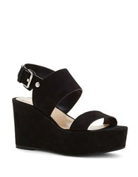 Vince Camuto Karlan Nubuck Leather Platform Wedge Sandals Black
