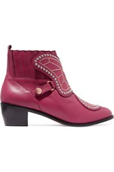 Sophia Webster Karina Butterfly Studded Leather Ankle Boots Plum