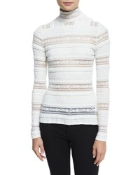 Cinq A Sept Antonia Turtleneck Sheer Striped Top Ivory