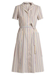 Hvn Maria Striped Seersucker Dress Multi