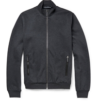 Dolce And Gabbana Leather Trimmed Zipped Cotton Blend Sweater Gray