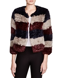 Pam And Gela Striped Fur Coat