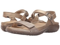Naot Footwear Mozota Champagne Leather Satin Gold Leather Women's Sandals Brown