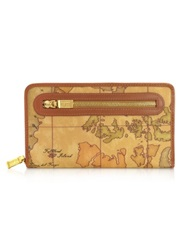 Alviero Martini Geo Print Zip Around Wallet Natural