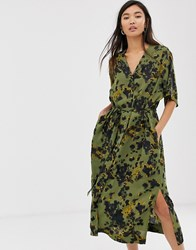 Weekday Smudge Print Tie Waist Midi Dress In Green