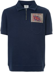 Kent And Curwen Embroidered Flag Polo Shirt Blue