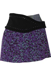 Just Cavalli Pleated Printed Chiffon Mini Skirt Purple