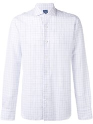 Barba Woven Grid Shirt Men Cotton Linen Flax 40 White