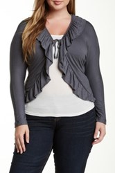 24 7 Comfort Ruffle Tie Front Shrug Plus Size Gray