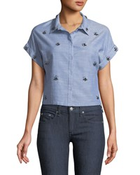 Dex Cropped Beaded Button Front Shirt Blue