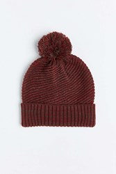 Urban Outfitters Twisted Marled Knit Pom Beanie Maroon