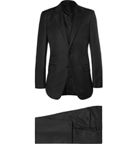 Tom Ford Black Slim Fit Peak Lapel Wool Suit