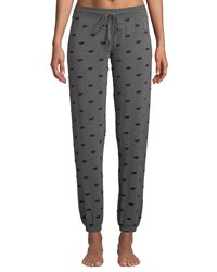 Pj Salvage Loved Lip Print Jogger Pants Gray Pattern