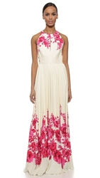 Lela Rose Floral Halter Gown Peony