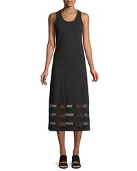 Lisa Todd Meshed Up Sleeveless Slub Tank Dress Black