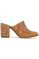 Rachel Zoe Embroidered Suede Mules Brown